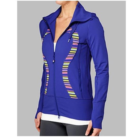 Lululemon Rainbow Stripe Royal Blue Stride Jacket